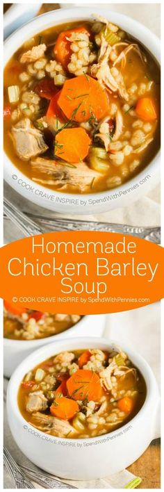 Homemade Chicken Barley Soup This perfect cool weather soup will warm you from the inside out Loads of veggies barley and Slow Cooker Recipes, Soup Recipes, Chicken Recipes, Cooking Recipes, Barley Recipes, Icing Recipes, Chicken Ideas, Lentil Recipes, Cabbage Recipes