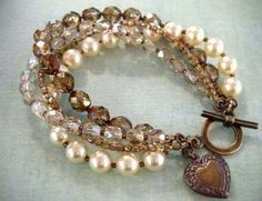 cream pearls with bronze czech beads twisted