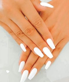 Classy Acrylic Nails, Acrylic Nails Coffin Short, Square Acrylic Nails, White Acrylic Nails, Acrylic Nail Designs, Fake Nails White, Summer Acrylic Nails, Coffin Nails, Faux Ongles Gel
