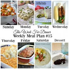 This Week for Dinner: Weekly Meal Plan #15
