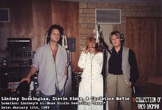 """A very rare picture of the three songwriters & singers of Fleetwood Mac together, during the recording of """"Tango In The Night"""". They're looking at Greg like he better get back to the board & stop..."""