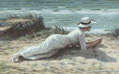 Schiottz-Jensen, Niels Frederik (b,1855)- Woman Lying Above Beach