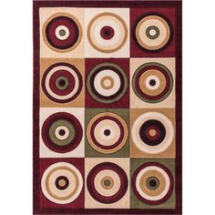Infinity Modern Squares and Circles Multi-colored Red, Green,, and Ivory Geometric Area Rug