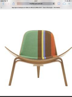 Carl Hansen & Son - verde/azul/laranja (design Hans J. Wergner e tecido do estilista Paul Smith)