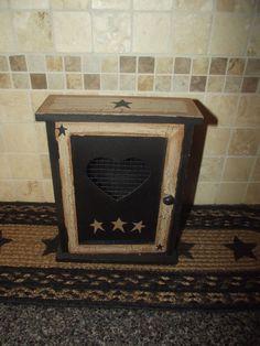Primitive Crackle Wood Key Box w/ Door ~ Prim Stars ~ Country Decor #NaivePrimitive
