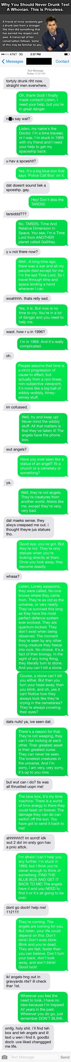 Why you should never drunk text a whovian.