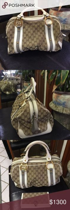 Gucci Boston bag Boston Gucci authentic purse. This $2500 purse. I pay $1500 from my friend. Asking $1300. If you pay for the price I offer I'll throw the wallet for free. If not I'm asking $300 for the wallet. This bag is large size. Gucci Bags Clutches & Wristlets