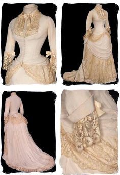 Ivory silk, ca. 1878, trimmed with bobbin lace. Bodice lined & stayed. Standup collar with silk satin bow at neckline. Skirt front has draped overskirt with ruffled tiers of more bobbin lace. Draped lace tail & waterfall bustle train & pleated hem. Lace all around train hem. Mademoiselle Rose (blog)