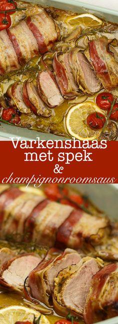 Varkenshaas met spek en champignonroomsaus #kerst #christmas #christmasdinner #christmasrecipes Dutch Recipes, Cooking Recipes, Easy Recipes, Food Vans, Multicooker, Pork Dishes, Food Inspiration, Tapas, Catering