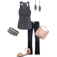 casual style: pewter and pink, created by maggiesuedesigns on Polyvore