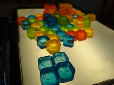 These little freezer cubes were a dollar at the store! They look awesome on our light table! Best of all, they work well with dry erase markers, so I can make letters and numbers on them! Sensory Rooms, Sensory Table, Sensory Bins, Sensory Activities, Kindergarten Activities, Preschool Science, Preschool Classroom, Classroom Activities, Diy Light Table