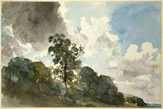 John Constable (Ang. 1776-1837), Etude de paysages : nuages et arbres, 1821, aquarelle, crayon, 16,8 x 25,3 cm, Londres, British Museum