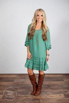 Bring on the holidays with this perfect and COMFY Boho dress! You'll want to wear this one everyday! It's perfect for a day of errands, at work, dressed up on the town, or just any day  of fun. Dress it up with your favorite heels or boots to wear around town. This has so much style and trend that you won't need to stress what to pair it with! The material is so comfortable and sure to be your favorite. Runs true to size. Hits right below the knee!SIZESSmall 0-4Medium 4-8Large 8-12Model...