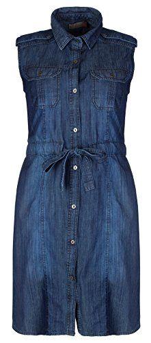 fd5b7cf8869 Clove Blue Denim Shirt Collar Sleeveless Shift Dress Plus Size 14 16 18 20  22 24