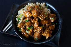 Pressure cooker honey sesame chicken is bite size chunks of chicken in a sweet, sticky sauce. A quick, easy to make recipe that the whole family will love.