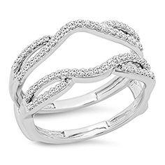 0.35 Carat (ctw) 10K White Gold White Diamond Wedding Band Enhancer Guard Double Ring 1/3 CT (Size 7)