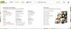 CafePress website mega menu design example
