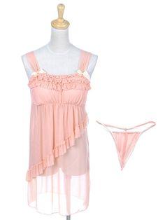 f55b0605465 Anna-Kaci S M Fit Peachy Pink Innocent Bow Ruffled Chemise Lingerie G String  Set  Amazon.com  Clothing