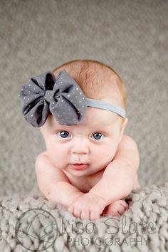 Newborn headband, baby headband, adult headband, photo prop The singlesprinkled- BIG Chiffon bow- stretch headband. $11.50, via Etsy.