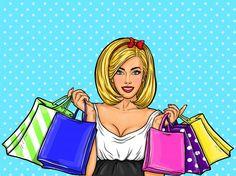 Векторные поп-арт иллюстрации молодая сексуальная девушка счастлива Холдинг сумок. Бесплатные векторы