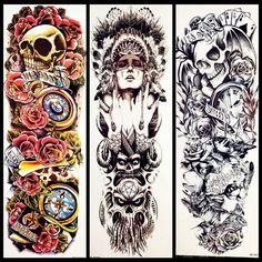 ... temporária tatuagem etiqueta gqsq30 mulheres dos homens de  transferência água falso tatuagem manga ombro crânio totem em Tatuagens  Temporárias de Beleza ... 44fd82e020f