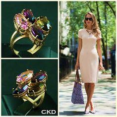 Maravilhoso este anel com cristais coloridos!! www.ckdsemijoias.com.br