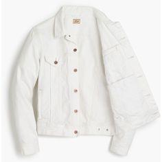 J.Crew Denim jacket in white ($118) ❤ liked on Polyvore featuring men's fashion, men's clothing, men's outerwear, men's jackets, mens white jacket, mens white jean jacket, j crew mens jackets and mens white denim jacket