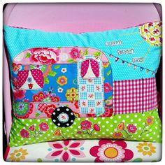 Camping scene 'Happy Sunny Days' appliquéd caravan cushion