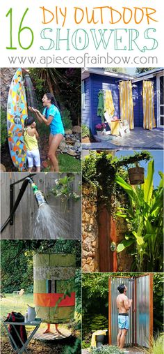 32 beautiful DIY outdoor shower ideas: creative designs & plans on how to build easy garden shower enclosures with best budget friendly kits & fixtures! Outdoor Baths, Outdoor Bathrooms, Outdoor Rooms, Outdoor Fun, Outdoor Gardens, Outdoor Decor, Outdoor Living, Outdoor Kitchens, Backyard Projects