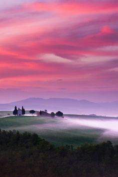 fiery Tuscan sky