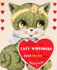 1950s Valentine card cat