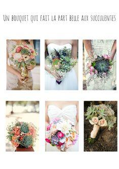 Des idées de bouquets de mariée en veux-tu en voilà! Un bouquet qui fait la part belle aux succulentes! L'ensemble de l'article à retrouver sur le blog http://mesptitsbonbons.blogspot.fr/