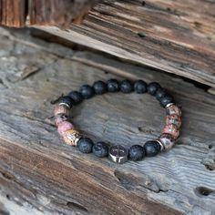 Religious stretch gemstone bracelet for men, Lava stone and Leopard Skin Jasper Gemstone Bracelets, Bracelets For Men, Elastic Thread, Jasper Stone, Pouch Bag, Stretch Bracelets, Bones, Gemstones, Lava
