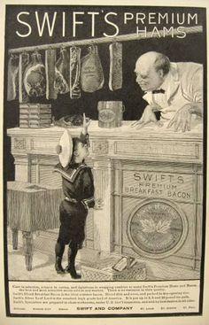 1900 Swift's Ham Ad ~ Sailor Boy and Butcher