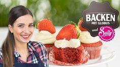 Backen mit Globus & Sallys Welt #3 | Red Velvet Cupcakes mit Erdbeeren