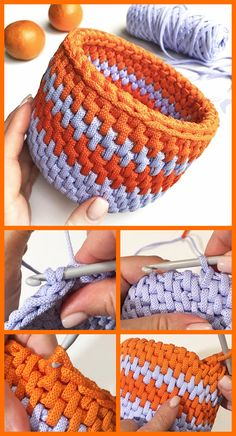 Learn how to crochet this simple round basket. Crochet Home, Diy Crochet, Crochet Crafts, Crochet Projects, Knitting Patterns, Crochet Patterns, Crochet Purses, Crochet For Beginners, Learn To Crochet
