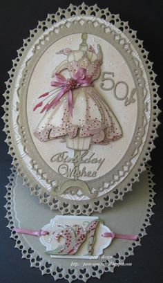 two birthday cards, the images are from Katy sue Fabulous Fashion cd. 50th Birthday Cards, Happy Birthday, Birthday Greetings, Birthday Parties, Stepper Cards, Spellbinders Cards, Dress Card, Shaped Cards, Easel Cards