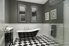 Black and white Bathroom with refurbished claw foot bath with chromed feet- By Candlewick Interior Designers Melbourne, Photo by Trends