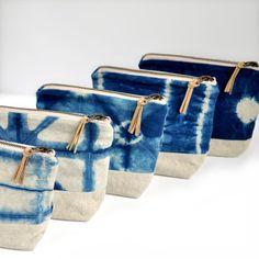 Shibori indigo linen