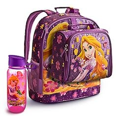 rapunzel backpack collection with water bottle
