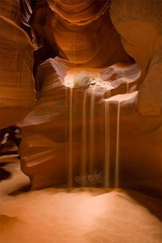 Arizona's Lower Antelope Canyon, on the Navajo Indian Reservation, is an incredible place. It begins as a crack in the middle of a dry riverbed, just barely large enough to squeeze through, and then it quickly drops deep underground. The canyon, literally an underground labyrinth, was carved by subterranean water flowing through miles of sandstone.