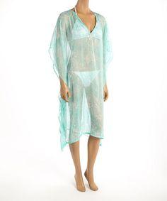 Soaked Aqua Texture Lace Cover-Up