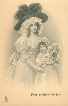 POUR SOUHAITER LA FETE  mother & daughter face front, daughter carries large bouquet of flowers