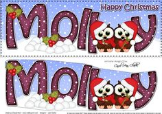 Large DL Happy Christmas MOLLY 3D decoupage  by Carol Clarke A Lovely Xmas Design with a personalised seasonal greeting.Ready to use Large DL card front with easy to cut 3d step by step decoupage topper.One of my soft and adorable felties designs.  Pop felties in the search box to find more in the same style This design is also available in other coordinating colourwaysdesigns and together they wo