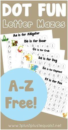 Dot Fun Letter Mazes ~ free alphabet printables