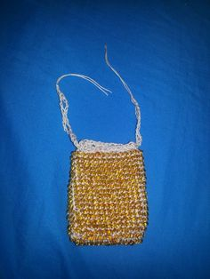 Beaded Crochet drawstring bag
