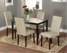 Dining Room Set Table Chairs Furniture Elegant Trendy Decor Family Dinner