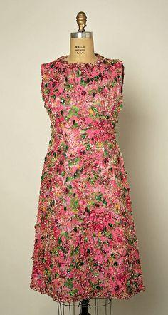 "Evening Ensemble, Cristobal Balenciaga (Spanish, 1895–1972), House of Balenciaga (French, founded 1937): fall/winter 1963-64, French, silk, glass beading, metallic thread.    Marking: [label] ""Balenciaga/10, Avenue George V - Paris"""