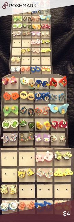 Clay studs! Many different animals! I am selling all of my cute little stud earrings! Angry birds, butterflies, pigs, frogs, bears, and more! Each set is $4 and any two are $6! Let me know if you'd like any. I have a another listing of plants and fruit! Jewelry Earrings