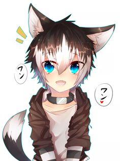 small wolf boy with brown hair Anime cat boy Wolf boy anime Anime chibi